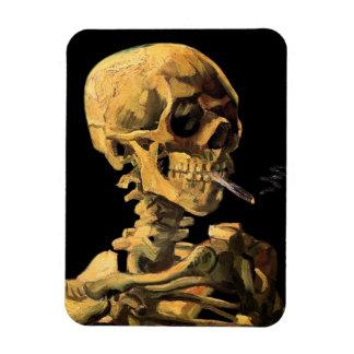 Cráneo de Van Gogh con el cigarrillo ardiente Imán Rectangular