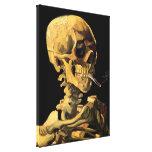 Cráneo de Van Gogh con el cigarrillo ardiente Impresión De Lienzo