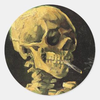 Cráneo de Van Gogh con el cigarrillo ardiente, Pegatina Redonda