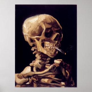 Cráneo de Van Gogh con el cigarrillo ardiente Póster