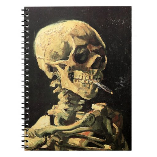 Cráneo de Van Gogh con el cuaderno ardiente del ci