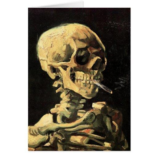 Cráneo de Van Gogh con la tarjeta de nota ardiente