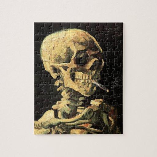 Cráneo de Van Gogh con rompecabezas ardiente del c