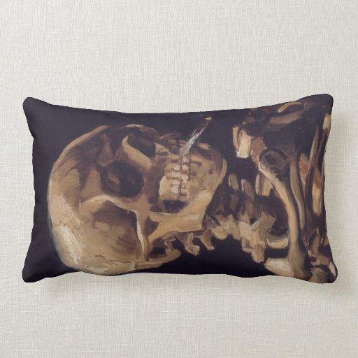 Cráneo de Van Gogh de un esqueleto con la quema de Cojín