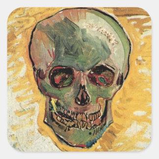 Cráneo de Van Gogh, todavía del vintage Pegatina Cuadrada