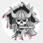 Cráneo de Viking Etiquetas Redondas