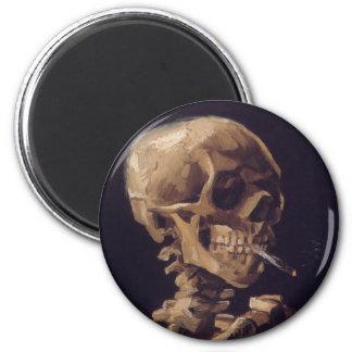Cráneo de Vincent van Gogh con un cigarrillo ardie Imán Redondo 5 Cm