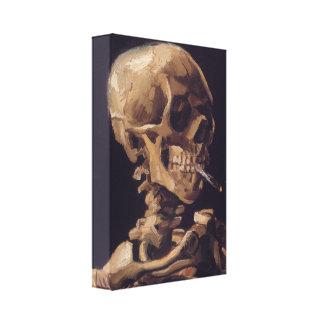 Cráneo de Vincent van Gogh con un cigarrillo ardie Impresiones En Lona Estiradas
