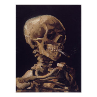 Cráneo de Vincent van Gogh con un cigarrillo ardie Posters