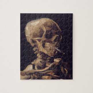 Cráneo de Vincent van Gogh con un cigarrillo ardie Rompecabeza Con Fotos