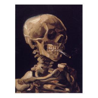 Cráneo de Vincent van Gogh con un cigarrillo ardie Tarjeta Postal