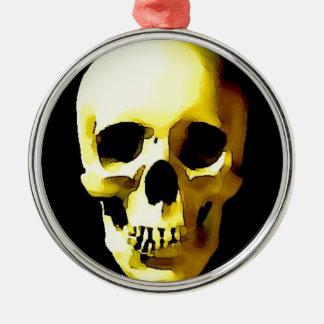 Cráneo Adorno Redondo Plateado