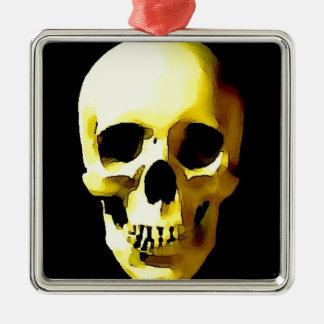 Cráneo Adorno Cuadrado Plateado
