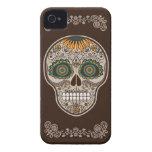 Cráneo decorativo del girasol de Dia de los Muerto iPhone 4 Case-Mate Carcasa