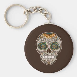 Cráneo decorativo del girasol de Dia de los Muerto Llavero