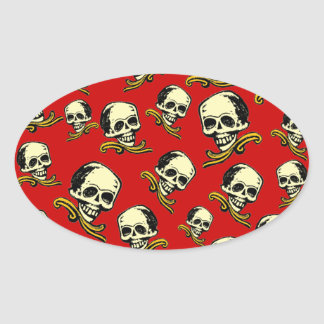 Cráneo decorativo del vintage adaptable pegatina de óval
