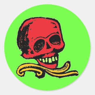 Cráneo decorativo del vintage adaptable pegatina redonda