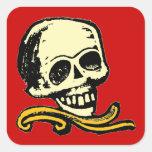 Cráneo decorativo del vintage adaptable pegatina cuadrada