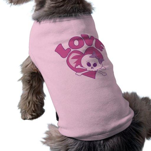 Cráneo del amor camisa de mascota