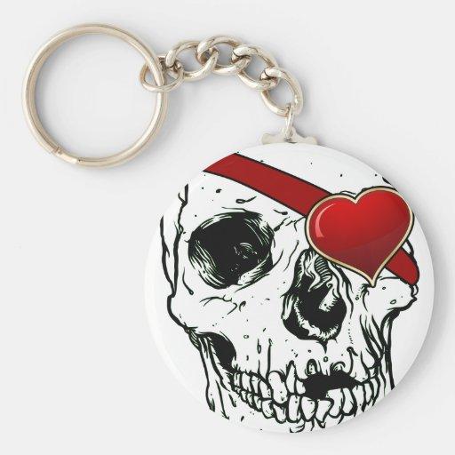 Cráneo del amor llavero redondo tipo pin
