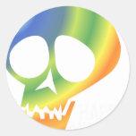 ¡Cráneo del arco iris! Pegatinas Redondas