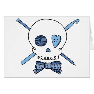 Cráneo del arte (azul) tarjeta de felicitación