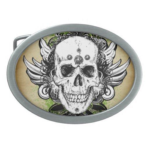 Cráneo del arte del tatuaje hebilla cinturon