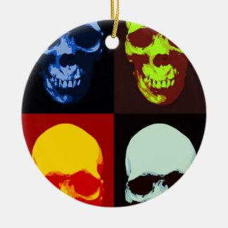 Cráneo del arte pop adorno navideño redondo de cerámica