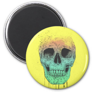 Cráneo del arte pop imán redondo 5 cm