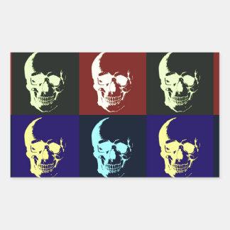 Cráneo del arte pop pegatina rectangular