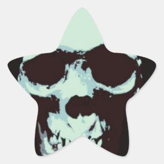 Cráneo del arte pop calcomanía forma de estrella