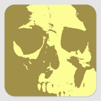 Cráneo del arte pop pegatina cuadrada
