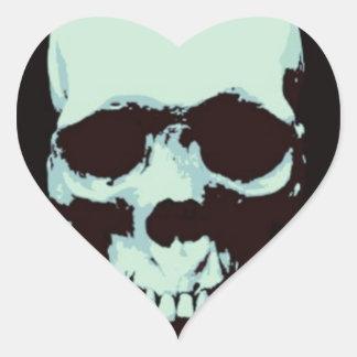 Cráneo del arte pop pegatina en forma de corazón