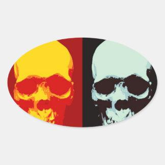 Cráneo del arte pop pegatina ovalada