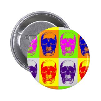 Cráneo del arte pop pin redondo de 2 pulgadas