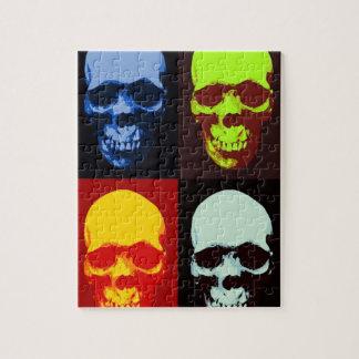 Cráneo del arte pop puzzle con fotos