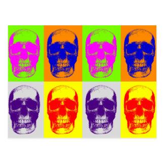Cráneo del arte pop tarjeta postal