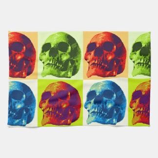 Cráneo del arte pop toalla de cocina