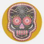 Cráneo del arte popular - día de los muertos pegatina redonda