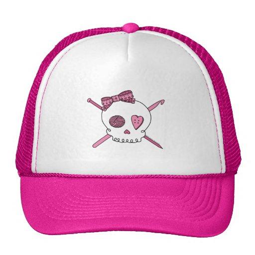 Cráneo del arte (rosa) gorras de camionero