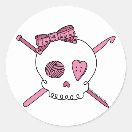 Cráneo del arte (rosa) pegatina redonda