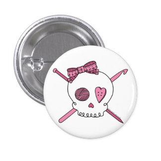 Cráneo del arte (rosa) pin redondo de 1 pulgada