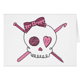 Cráneo del arte (rosa) tarjeta de felicitación