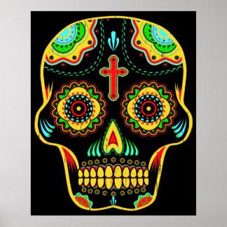 Cráneo del azúcar a todo color póster