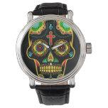 Cráneo del azúcar a todo color relojes de pulsera