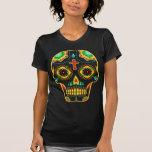 Cráneo del azúcar a todo color tee shirts