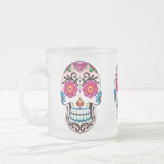 Cráneo del azúcar - arte del tatuaje taza de cristal