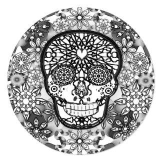 """Cráneo del azúcar blanco y negro invitación 5.25"""" x 5.25"""""""