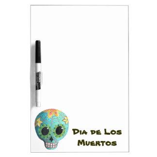 Cráneo del azúcar Blue Dia de Los Muertos Art Tableros Blancos