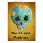 Cráneo del azúcar Blue Dia de Los Muertos Art Tarjeta De Felicitación